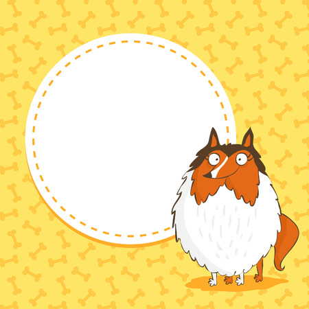 cute dog: Cute card background with a funny dog, collie