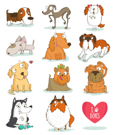 Set of cute dog characters. Breeds. Isolated on white Illustration