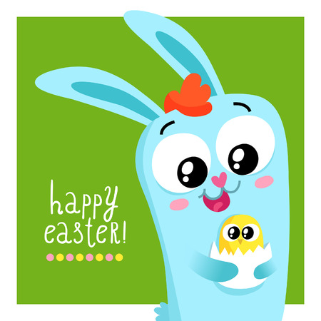 passover and easter chick: Easter greeting card template with a cute bunny holding egg with little chick
