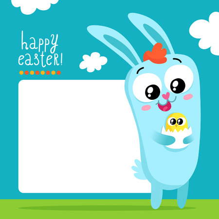 passover and easter chick: Easter greeting card template with a cute bunny holding egg with little chick and space for text