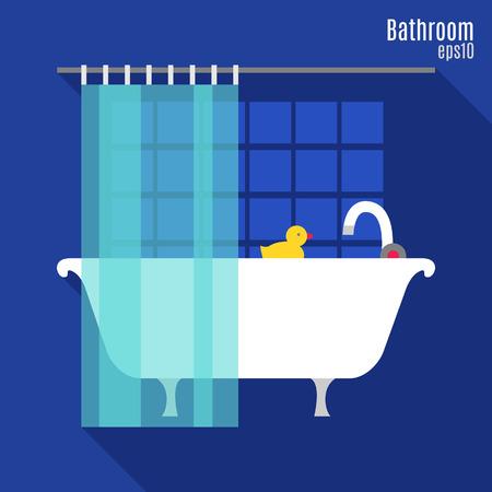 sanitary engineering: Illustration of bathroom in flat style