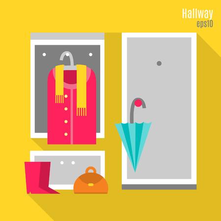Illustration of hallway in flat style