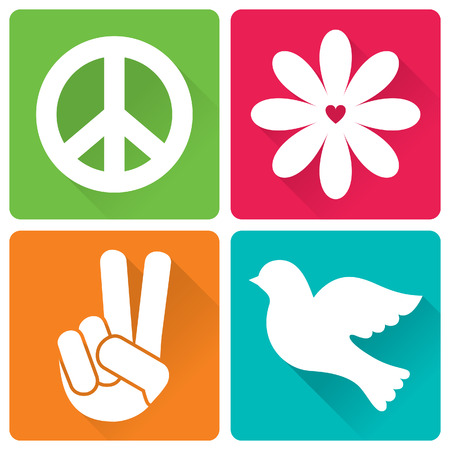 pacifism: Set of 4 illustrations in flat design peace and antiwar theme Illustration