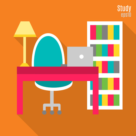 Illustration of study in flat style