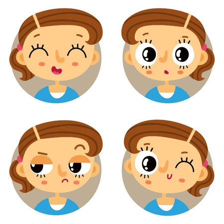 displeased: Cute set of four young girl emotions