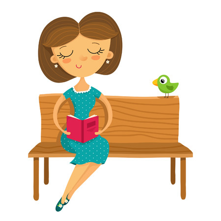 ease: Illustration of young girl sitting on a bench and reading a book, isolated on white Illustration