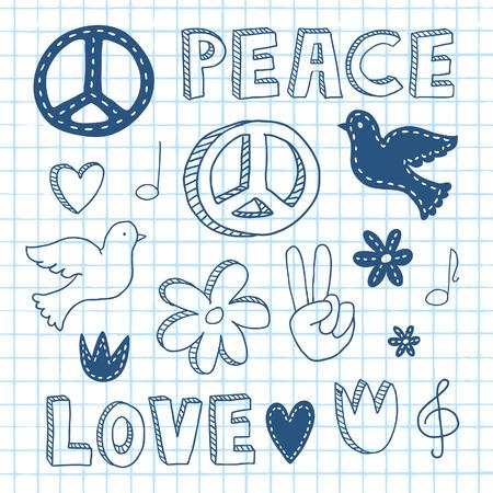 simbolo de la paz: Tem�tica doodle de paz conjunto con el papel de cuaderno