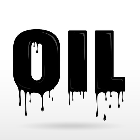 Illustration of a word OIL made of dripping oil, black liquid text