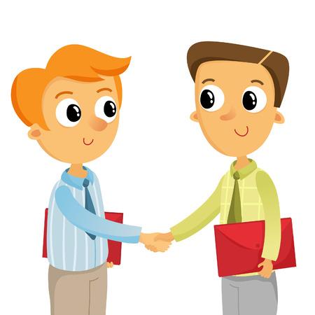 dandose la mano: Ilustraci�n de dos hombres de negocios de j�venes de darle la mano, aislados en blanco