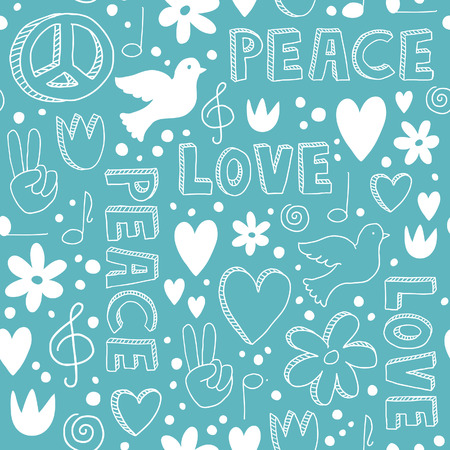 Delicate hand-drawn seamless pattern with symbols of peace - doves, hearts, peace signs, flowers and lettering, - white doodles on light blue background Ilustração