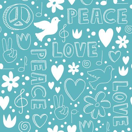 Padrão sem emenda desenhado à mão delicado com símbolos da paz - pombas, corações, sinais de paz, flores e letras - rabiscos brancos sobre fundo azul claro Foto de archivo - 40409599