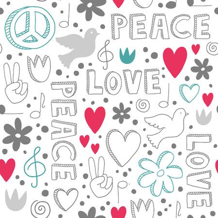 simbolo de la paz: Garabatos blancos sobre fondo blanco - Delicada mano dibujado sin patrón, con símbolos de la paz - palomas, corazones, signos de la paz, flores y letras, Vectores