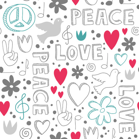 Delicate hand-drawn seamless pattern with symbols of peace - doves, hearts, peace signs, flowers and lettering, - white doodles on white background Illustration