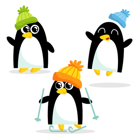 Set of three cute penguins having fun, isolated on white
