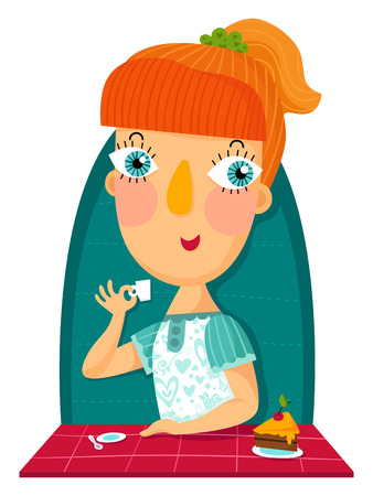 redhair: Redhair girl with cup and sweet cake Illustration