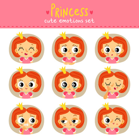 Princess, little girl cute emotions set