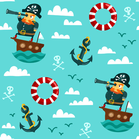 skull character: Funny cartoon seamless pattern with a pirate on a boat with a spyglass, anchor, lifebuoy and clouds