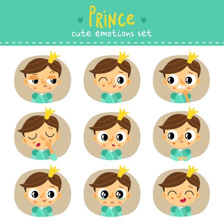 Prince, little boy cute emotions set Иллюстрация