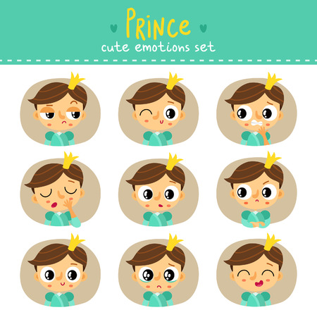 Prince, little boy cute emotions set Illustration
