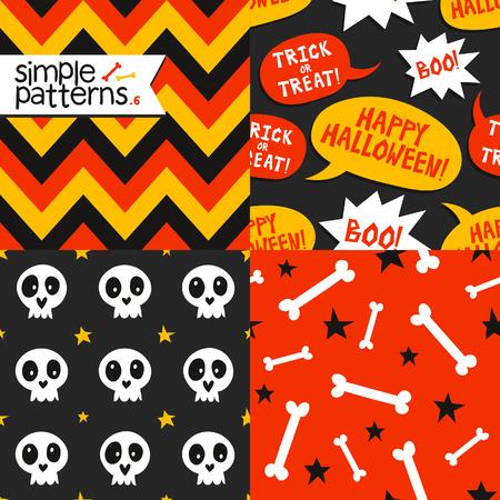 halloween pattern: Bright collection of 4 Halloween seamless patterns Illustration