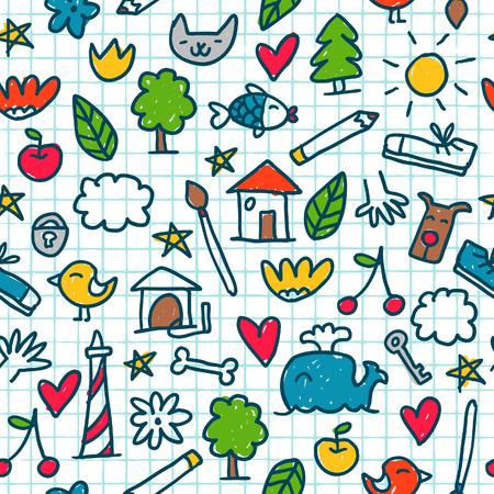 dessin enfants: Seamless avec des petits dessins mignons dans le livre d'exercice Illustration
