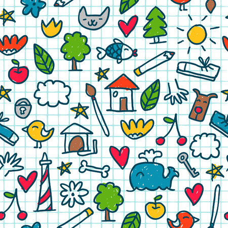 child drawing: Seamless pattern with cute little drawings in the exercise book Illustration