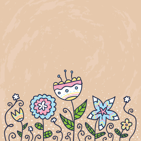 card background: Beautiful card background with doodle flowers Vettoriali