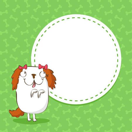 Cute card background aith a funny dog, shih tzu Vector