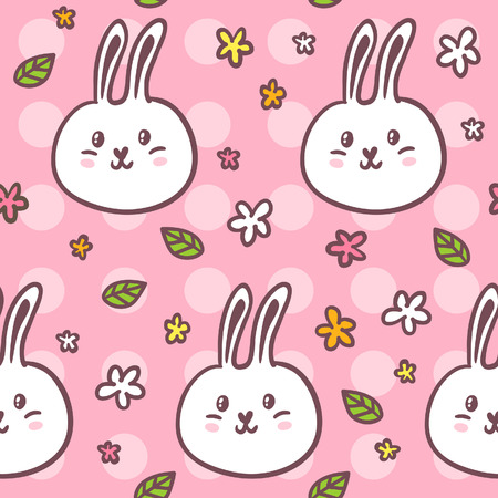 girlish: Cute girlish seamless pattern with doodle rabbits and flowers on pink dotted background Illustration