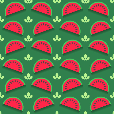 Yummy seamless pattern with watermelon slices in flat style on green background Illustration