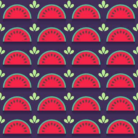 yummy: Yummy seamless pattern with watermelon slices in flat style