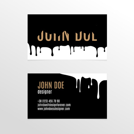 laconic: Stylish business card design with dripping black paint