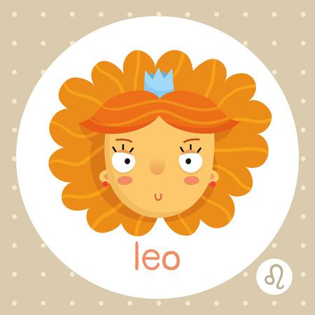 voluminous: Leo cute zodiac sign illustration cartoon style girl with voluminous hair and crown badge horoscope symbol isolated on white