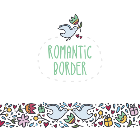romantic: Romantic vector border with doodle flowers, hearts, gifts and birds Illustration