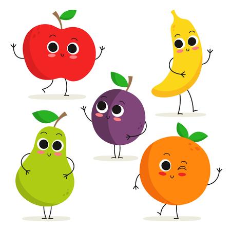 pera: Colección adorable de cinco personajes de dibujos animados de frutas aisladas en blanco: manzana, pera, ciruela, plátano y naranja.