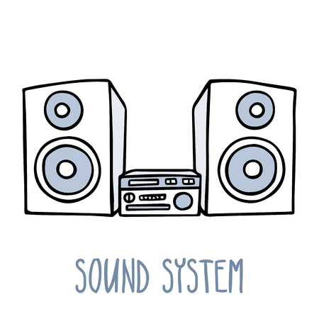 sound system: Cute doodle sketch of sound system in blue tones, isolated on white