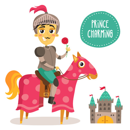 a charming: Illustration of a funny knight on a horse - Prince Charming - with a flower and small castle isolated on white
