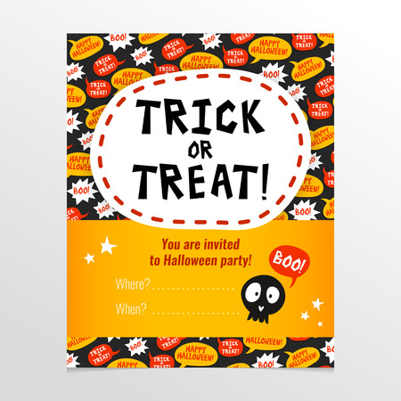 Funny and bright vector Halloween party invitation card with banner and cute skull