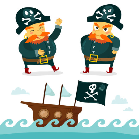 captain ship: Cool set of two pirate characters - happy and angry - and cute sea background with Jolly Roger flag, isolated on white Illustration