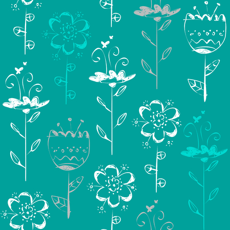 Seamless pattern with light sketch flowers on blue background