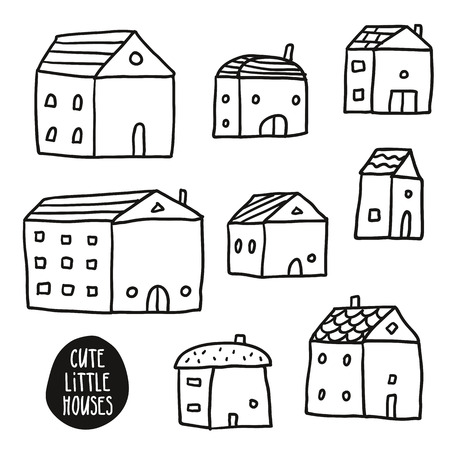 cute house: Set of cute vector sketch houses isolated on white, line art in childish style Illustration