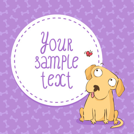 puppy cartoon: Cute purple vector card background with a funny dog labrador watching a butterfly and space for text Illustration