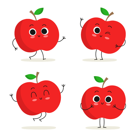 character cartoon: Apple. Cute fruit vector character set isolated on white