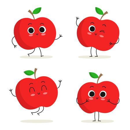 manzana caricatura: Manzana. Fruta lindo juego de caracteres del vector aislado en blanco