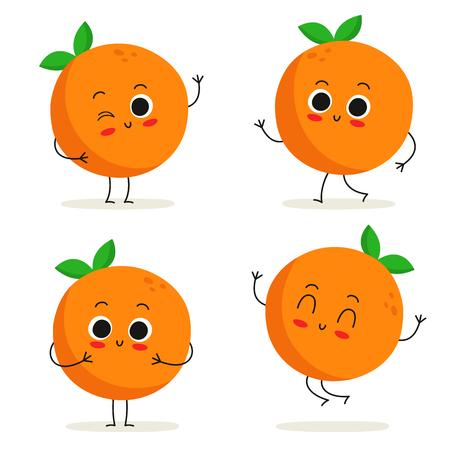 cartoon orange: Orange. Cute fruit vector character set isolated on white