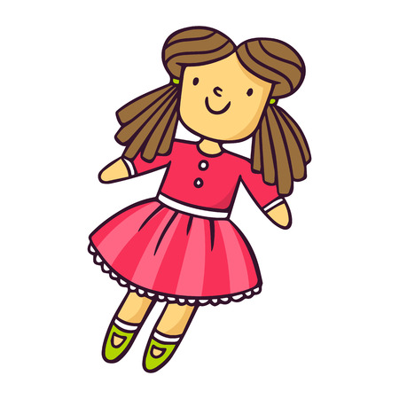 Doll, bright vector children illustration of cute toy in pink dress isolated on white Иллюстрация