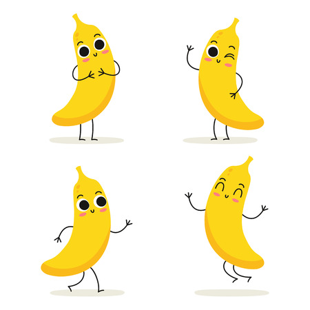 Banana. Cute fruit vector character set isolated on white