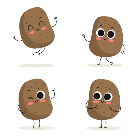 Aardappel. Schattige plantaardige vector teken set geïsoleerd op wit Stock Illustratie