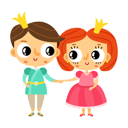 cartoon prince: Cartoon prince and princess holding hands, cute vector characters isolated on white