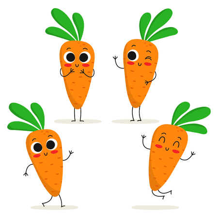 Carrot. Cute vegetable vector character set isolated on white